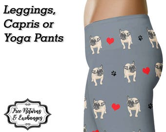 French Bulldog Leggings, Yoga Pants, Capris • Frenchie Mom French Bulldog Clothing Yoga Leggings Dog Lover Workout Tights Gift Frenchie Love