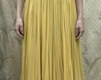 Vintage 1960s Yellow Silk Chiffon Evening Gown, Yellow Maxi Dress