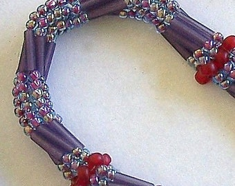 Purple and Red Tubular Herringbone Bead Woven Necklace by Carol Wilson of Je t'adorn