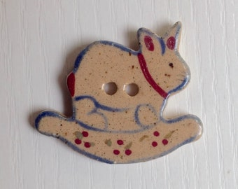 Hand-Painted Porcelain Button, Tan Porcelain, Bunny Rocker, Blue & Red Paint, Two Hole