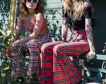 MADE TO ORDER +++ Highwaist or Low-Rise | Plaid | Tartan | Bellbottom | Flares | Bohemian Punk Rocker Qypsy Queen Dream