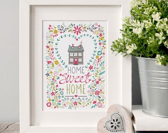 Home Sweet Home Illustrated Art Print