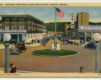 Broadway From Trail's End Turn A Round Seaside Oregon linen postcard