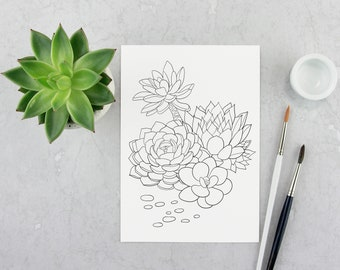 Succulents coloring pages. Coloring pages for adults.Coloring book.printable coloring pages.Instant download coloring.Pdf coloring.Floral