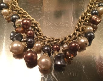 Vintage japan brown faux pearls and glass beads necklace