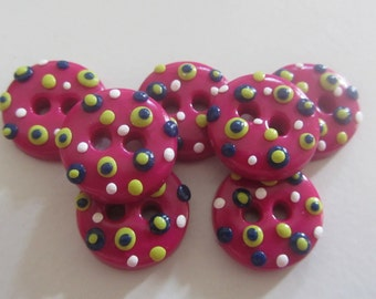 Pink Polka Dot Buttons - Set of 7