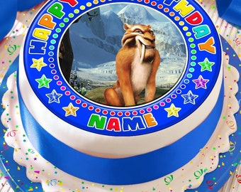 ice age diego saber tooth tiger personalised with your age and name precut edible cake topper icing sheet decoration 7.5 inch round