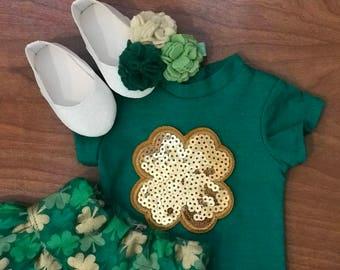 St. Patrick's Day American Doll 4 set Four Leaf gold sequin clover doll shirt clover fabric skirt  rose felt flower hair clip glitter shoes