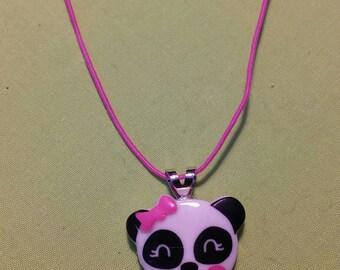 kawaii panda necklace panda with a cute pink bow