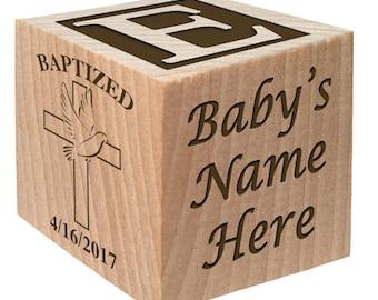 Baptism Block - Christening Block - Baptism Gift - Christening Gift keepsake Custom Engraved wooden baby blocks for newborn girl newborn boy