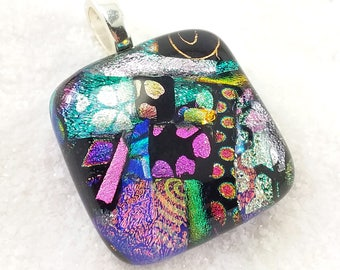 Fused dichroic jewelry, Fused glass necklace, rainbow pendant, fused glass art,artisan jewelry, jewelry handmade, dichroic necklace, rainbow