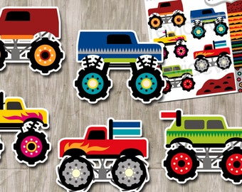 Monster truck clipart sale, digital papers / monster trucks clip art digital / commercial use clipart graphics / vehicle, transportation