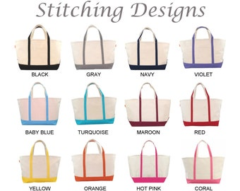 Monogrammed Tote, Zip Tote, LARGE, Boat Tote, Bridesmaid Tote Bag, Beach bag, Diaper bag, Extra heavy canvas, 12 Colors available