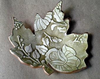 Ceramic Soap Dish Leaf  Trinket Dish  Sage green with gold edging