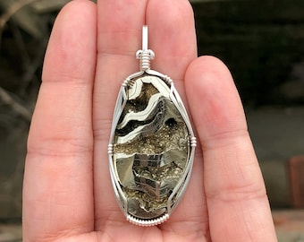 Pyritized ammonite pendant, Wire wrapped pendant, Sterling silver, Fossil jewelry, Ammonite jewelry, Ammonite necklace, Fossil necklace