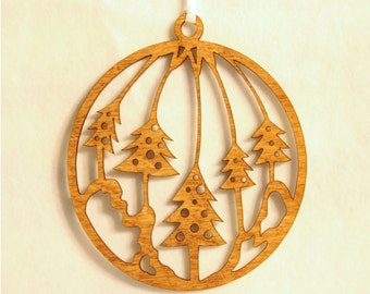 Wooden Christmas Globe Ornament