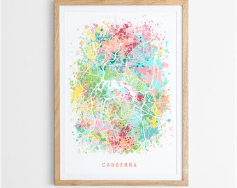Canberra Map Print - Abstract Map / ACT / Australia / City Print / Australian Maps / Giclee Print / Poster
