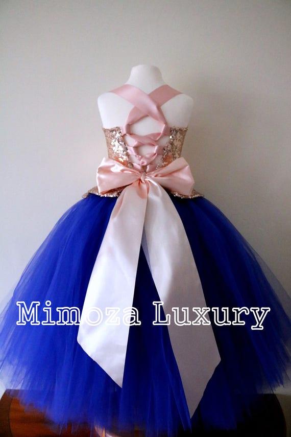 Rose Gold & Royal Blue Flower Girl Dress, Rose Gold bridesmaid dress, couture flower girl gown, bespoke girls dress, tulle princess dress