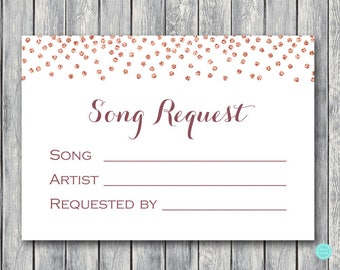 Wedding Song Request Card, Wedding RSVP with Song Request, Printable Song Request Card, Instant Download TH68