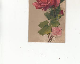 Signed C Klein Study Of  Red Rose In Bloom Antique Postcard, Stamp On Front