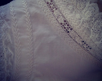 Antique French Edwardian white cotton hand embroidery corset top petite teen