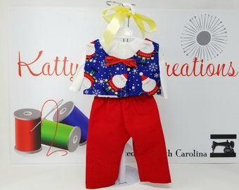 """Festive Santa in Snowflakes 3 Piece Outfit 18"""" Doll Outfit"""