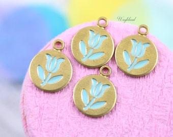 Vintage Style Tulip Charms Pendants Turquoise - 4