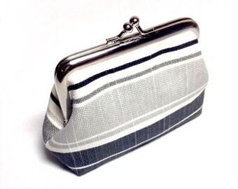 Canvas black, grey and white stripe purse