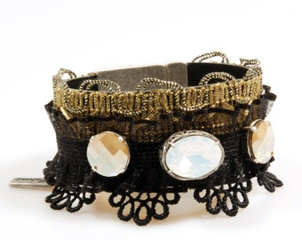 leather bracelet black gold - wide cuff Swarovski with ribbon and lace - boho chic cuff- party jewelry - unique handmade jewelry