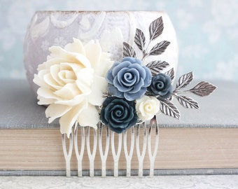 Floral Hair Piece Something Blue Navy and Ivory Wedding Bridal Hair Comb Vintage Style Antiqued Silver Branch Dusty Blue Rose