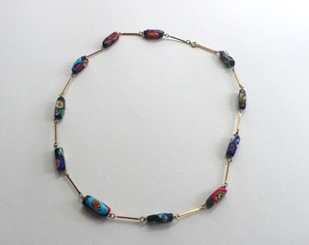 Vintage Multicolored Glass Bead Necklace