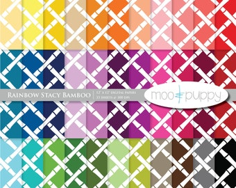 Digital Scrapbook Paper Pack  --  Rainbow Stacy Bamboo -- INSTANT DOWNLOAD