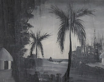 Antique oil painting jungle scene huts signed