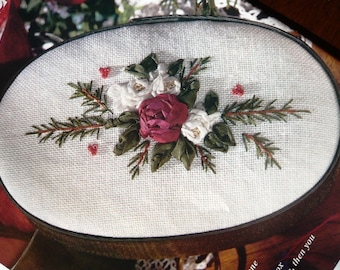 Christmas Roses Ribbon Embroidery pattern from OOP needlework magazine