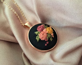 Embriodery Pendant Necklace,Floral Jewelry,Flower Necklace,Embroidered Flower Necklace,Handmade Jewelry,Handmade necklace,handmade pendant