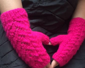 Pink Knitted fingerless gloves comfortable and warm