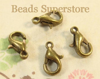 10 mm Antique Bronze-Plated Alloy Lobster Claw Clasp - Nickel Free, Lead Free and Cadmium Free - 20 pcs