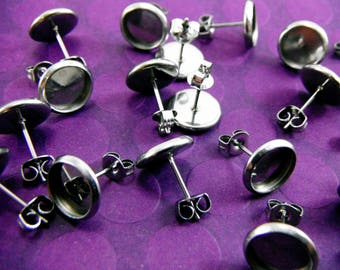 20 Pcs Stainless Steel Earring Posts And  Butterfly Earnuts  (8mm Tray)- Size: 10mm Diameter, 8mm Inner Tray Diameter, Pin 1mm EAR014