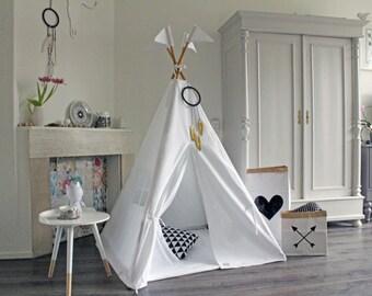 White Teepee, Tipi, Play Tent, MIDI size teepee, Pure White teepee,  Play tipi, Nursery teepee Tent, Kids Tipi, Wigwam, Indoor Play tent