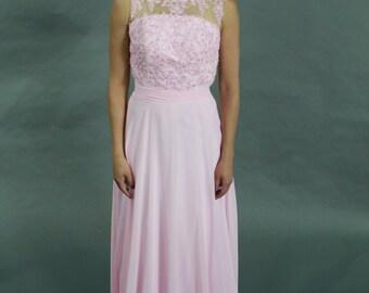 Light pink beaded lace illusion neckline see through back formal chiffon evening dress, prom dress, bridesmaid dress
