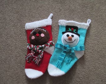 Crocheted Christmas Stocking----Snowman----Gingerbread
