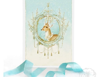 Deer Christmas card, white Christmas, snowflakes, white berries, reindeer, blank holiday card