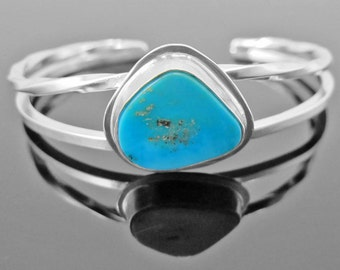SMALL WRIST Sleeping Beauty Turquoise Sterling Silver Cuff Twisted Wire Asymmetric