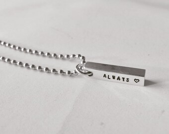 Personalized Necklace,Hand stamped personalized necklace, birthday gift,Best friend gift, Men gift, Gift for him, Gift for her