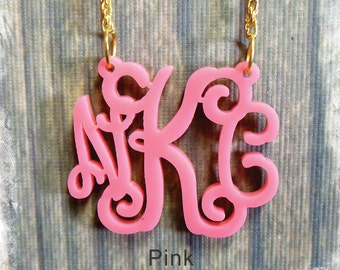 Monogram Necklace - Vine Monogram 3 Initial Name Acrylic Monogram Jewelry -Pink Necklace