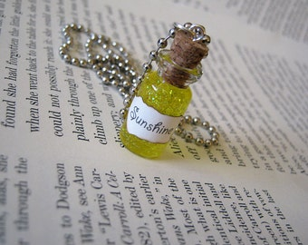 Liquid Sunshine 1ml Glass Bottle Necklace Charm - Vial Pendant - Bottle of Sunshine Yellow Happiness