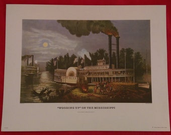 Wooding Up on the Mississippi Reproduction Print