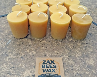 100% Pure & Natural Beeswax Votive Candles | 12 Pack