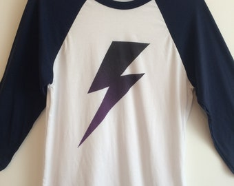 70's style Glam rock  Bowie lightening bolt baseball top mens size small