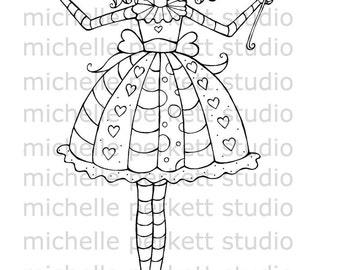 DIGITAL STAMP - Queen of Hearts Birthday Girl